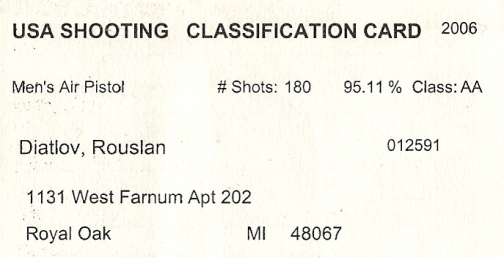 USA Shooting Classification Card/ Russ/ Ruslan Dyatlov  Class AA Olympic Pistol