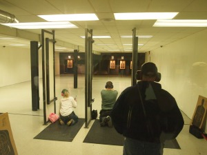 50 Feet Double Action, 6 Shots Kneeling. Police Pistol Combat match at  Fenton Lakes Sportsmans Club, March 15, 2013