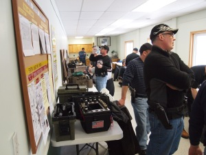 Shooters are getting ready for Police Pistol Combat match.