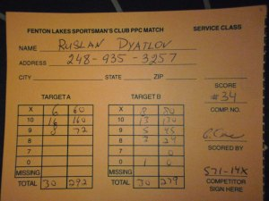 My Scores at PPC MATCH  •Fenton Lake Sportsman's Club•